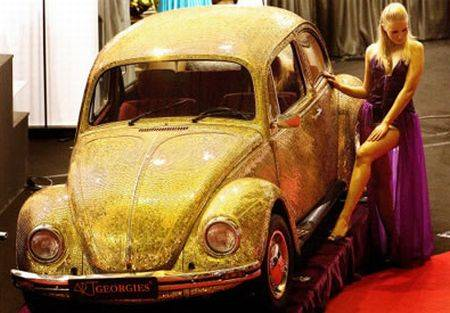 gold encrusted volkswagen beetle