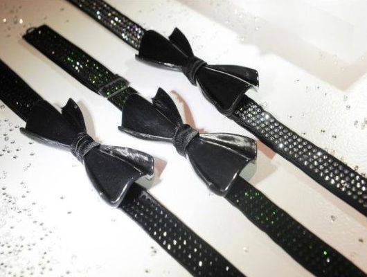 Carbon silk bow ties with Swarovski crystals on Fashion's night out