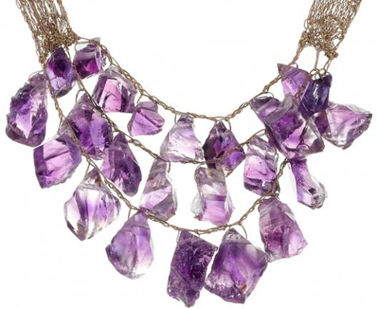 Custom Made 200 Carat Rare Amethyst Necklace by Shirley Ephraim