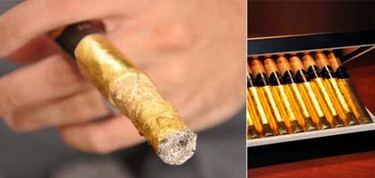 London Cut Bourbon-Aged and Gold Hand-Rolled Cigar that ashes gold