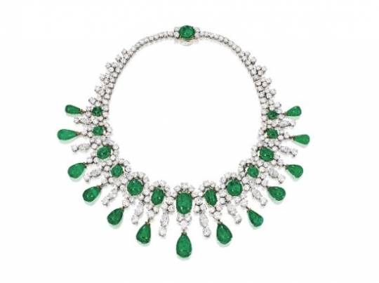 Platinum, 18 Karat Gold, Emerald and Diamond Necklace, Bulgari