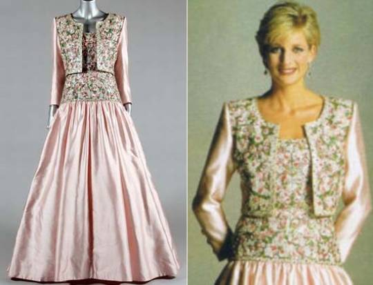 The Princess wore the Mughal-inspired Catherine Walker pink silk gown by Lord Snowdon in 1997