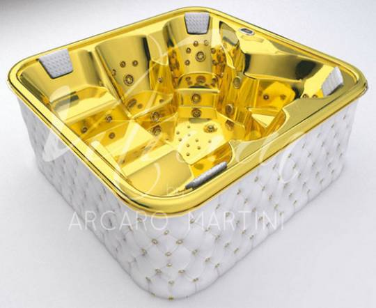 Gold and white leather bathtub:
