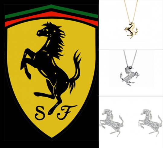 The famous Ferrari prancing horse and it's Jeweled ve
