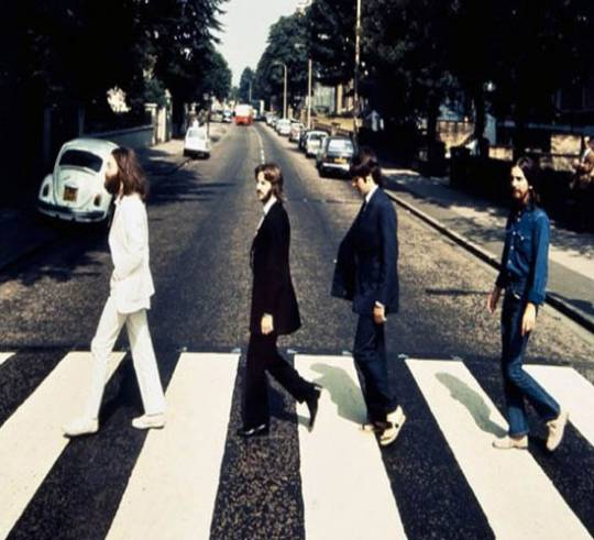 The Abbey Road photo which shows the Beatles walking backwards