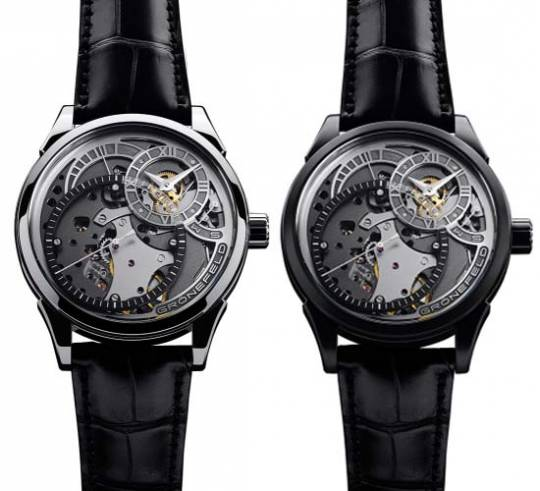 Grönefeld One Hertz Techniek's open-work dial showcases its intricate upper mechanics within