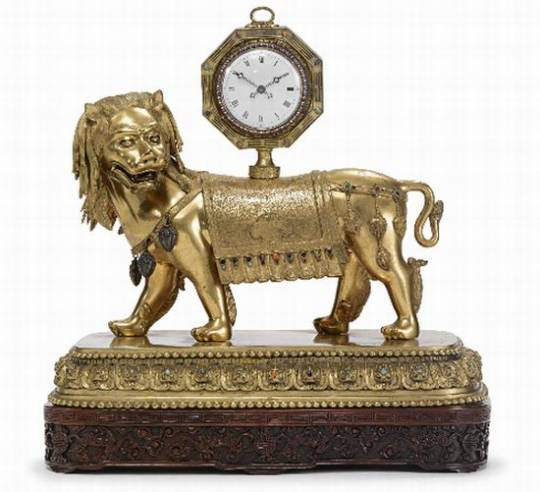 Imperial Chinese gilt-Bronze lion Clock Stand