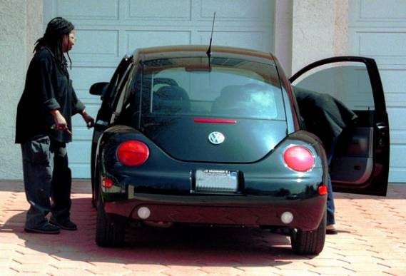 Whoopi Goldberg and her Volkswagen Beetle
