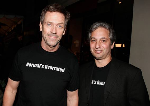 Hugh Laurie with David Shore at NAMI Charity Celebration