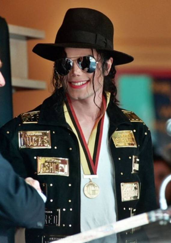 Michael Jackson wore this custom created black suede jacket for a 1990 L.A. Gear ad campaign as well as the 1993 Guinness Book of World Records ceremony.