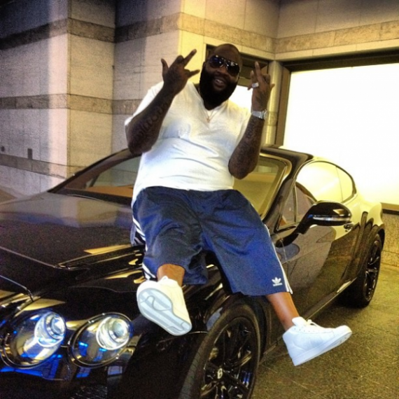 Rick Ross loves to go on long drives in his metallic black Bentley Continental Supersports.