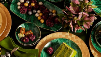 24kt Gold Malachite Tableware Collection by L'OBJET