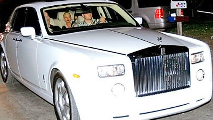 Christina Aguilera loves driving around in one of her favorite $550000 white colored Rolls Royce Phantom.
