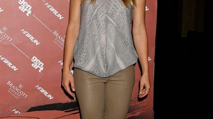 "The actress was photographed donning these pants to the screening of the movie ""Hit and Run"" in New York."