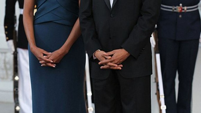Mrs. Obama looked elegant donning the teal blue gown at the State Dinner in the White House.