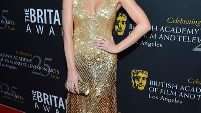 The artist flaunted her gold sequined gown at the 2012 Los Angeles BAFTA awards.