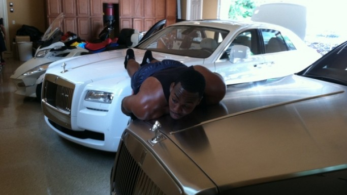 Dwight Howard in his car garage