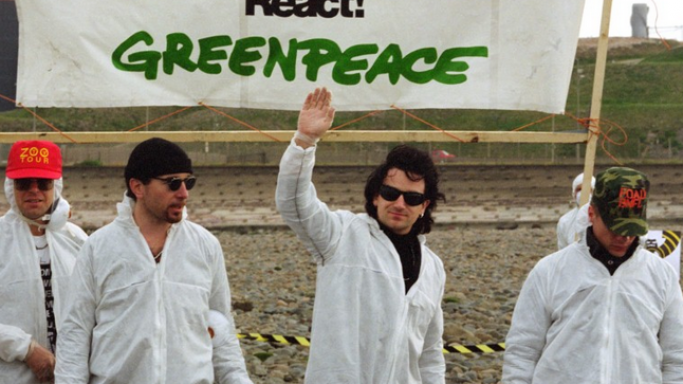 Christian Bale and many other celebrities supports Greenpeace program including famous musician Bono.
