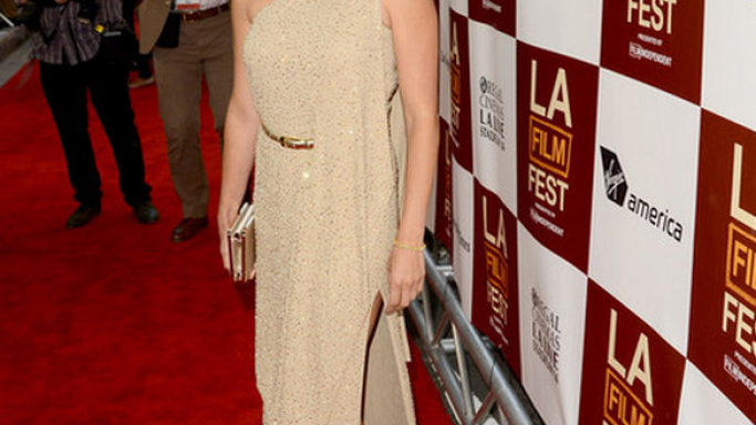 The Spanish actress was spotted wearing her high-end Herve Leger Sandals to the L.A film Festival.