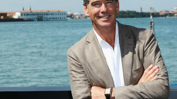 Actor Pierce Brosnan attends the 69th Venice Film Festival wearing his Jaeger-LeCoultre Reverso Squadra Hometime in 18kt rose gold.