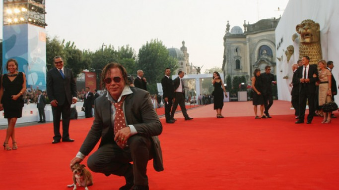 Mickey Rourke with his dog