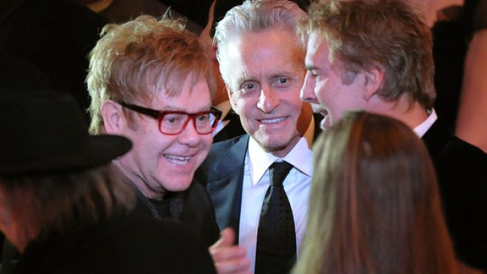 Michael Douglas supports Elton John AIDS Foundation