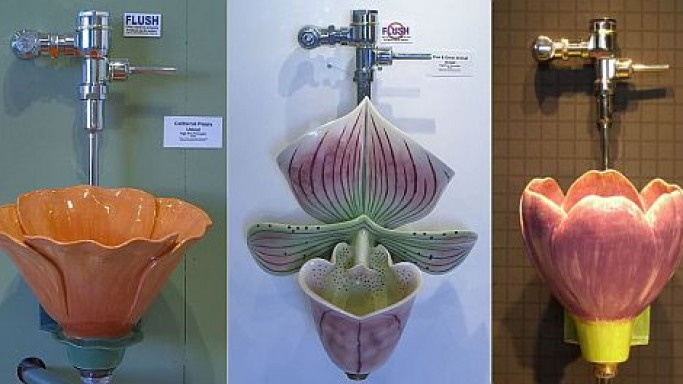 Flower shaped urinals – Nature enters your bathroom for a price