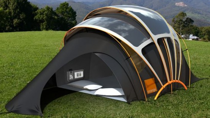 Orange Solar Tent for trips in wild with electronic ammunition