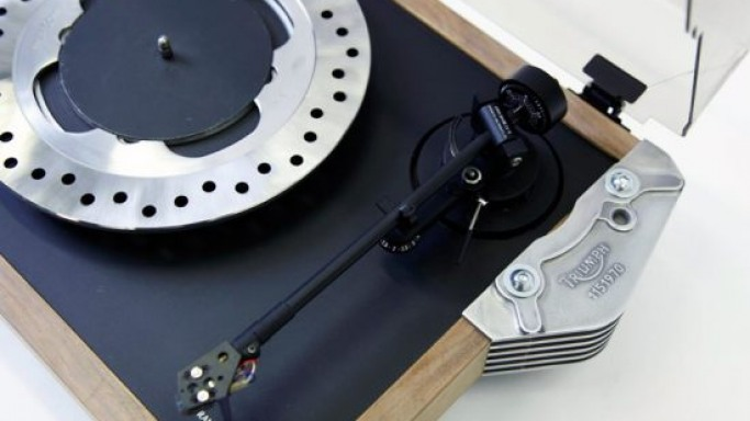 A gorgeous turntable made from motorcycle parts
