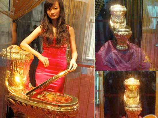 Practice 'Toilet Etiquette' before sitting on this gold toilet worth $200,000
